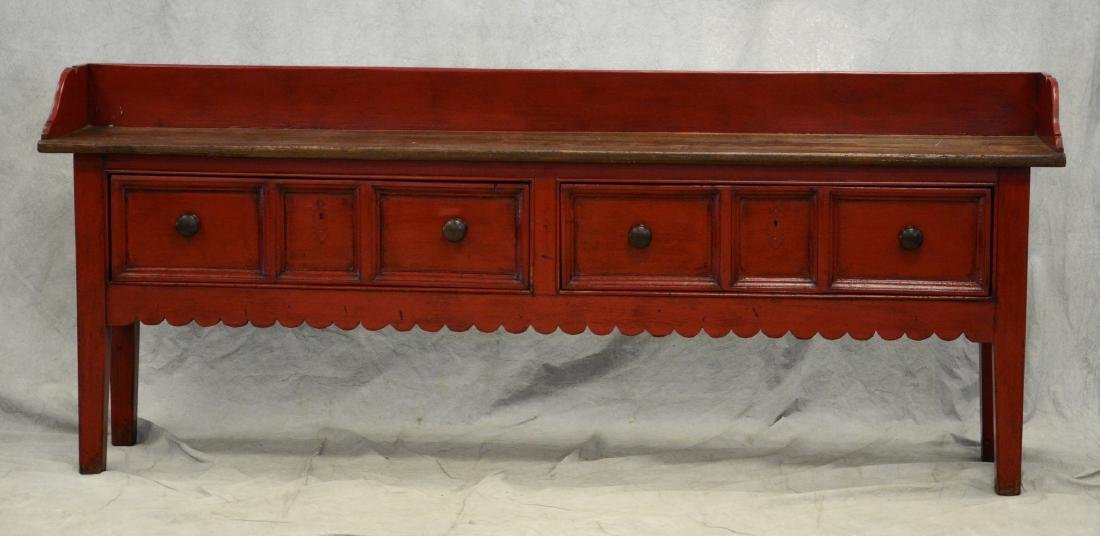 Country French style distress painted console table