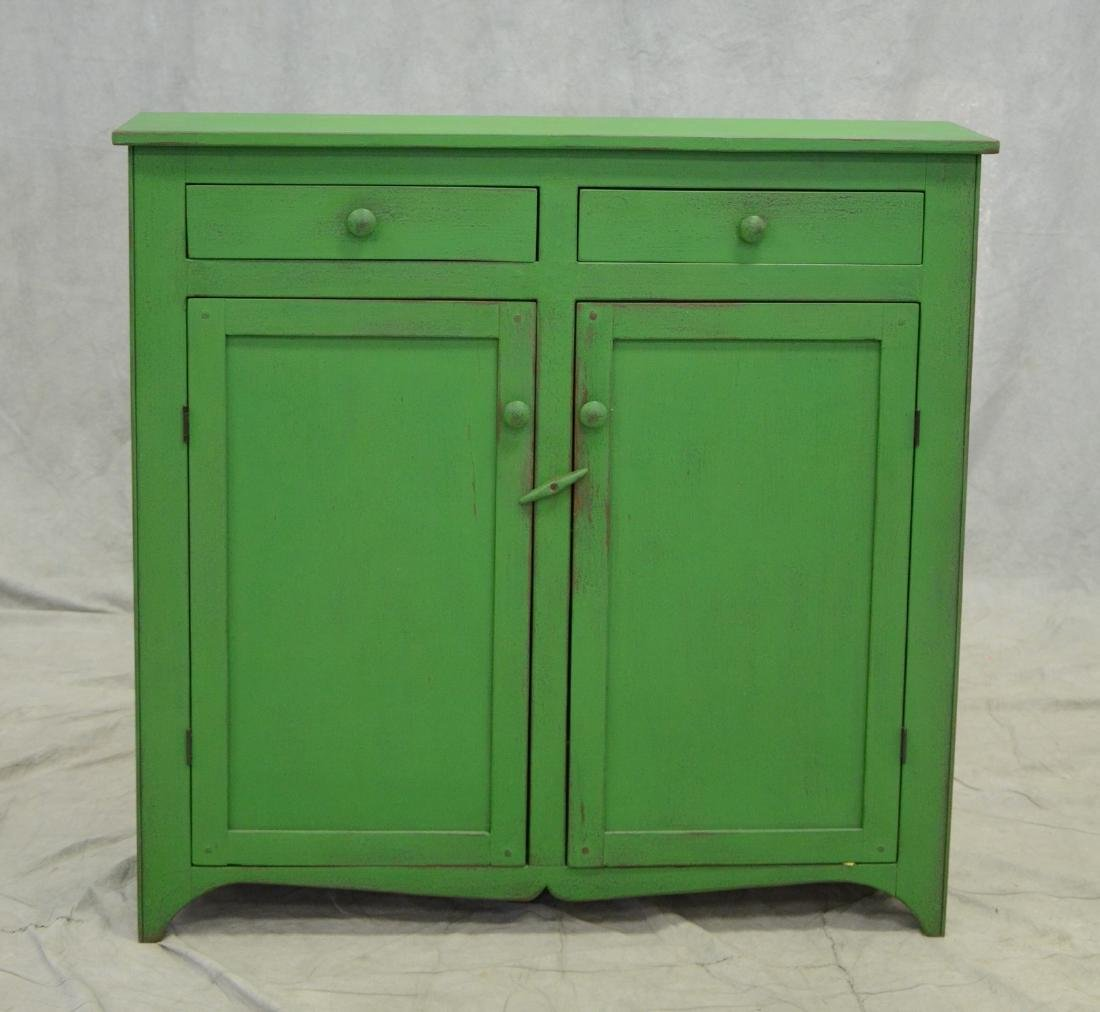 Custom distressed green painted cupboard