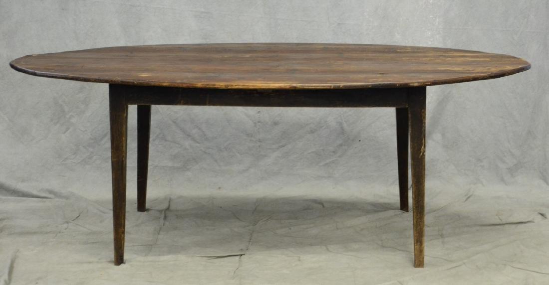 Custom oak oval slatted top dining table