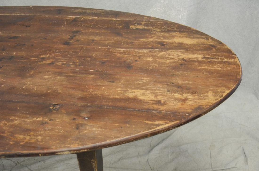 Custom oak oval slatted top dining table - 2