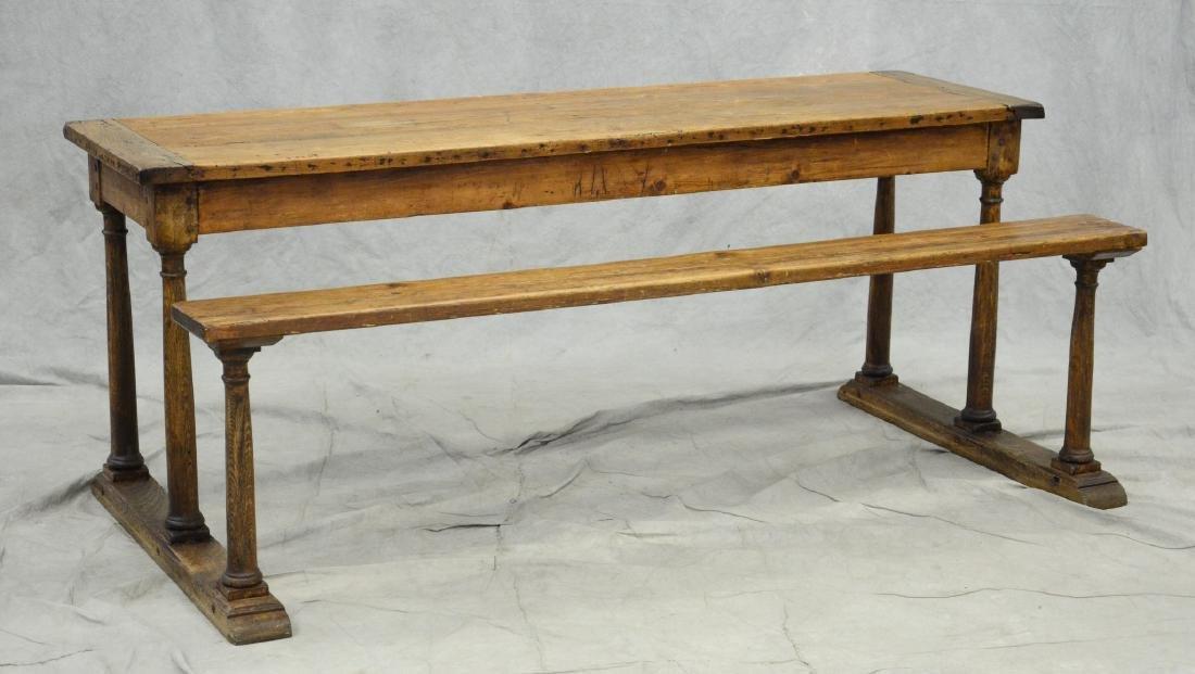 English oak & pine shoe foot school desk