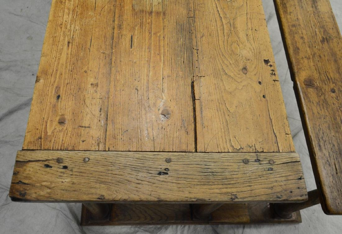 English oak & pine shoe foot school desk - 2