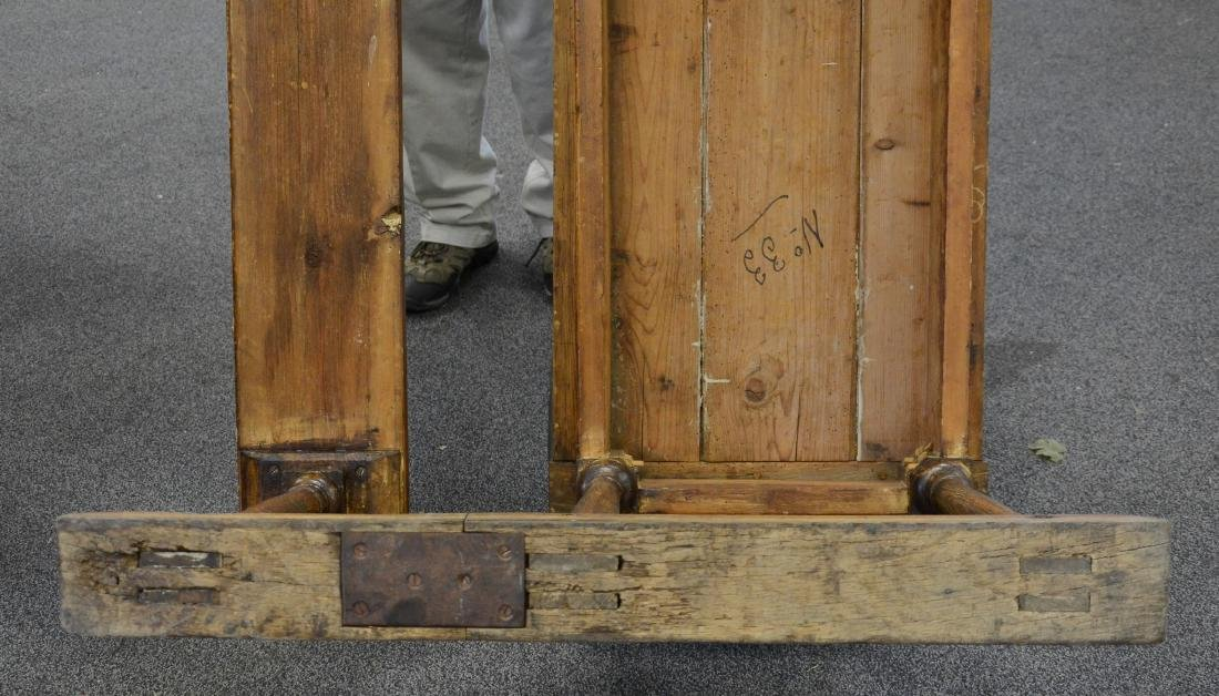 English oak & pine shoe foot school desk - 4
