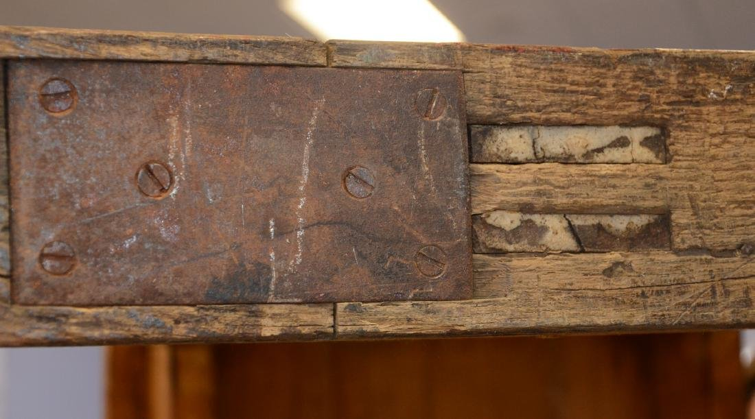 English oak & pine shoe foot school desk - 8