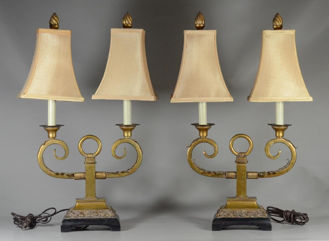 Pair custom Italian style gilt painted table lamps