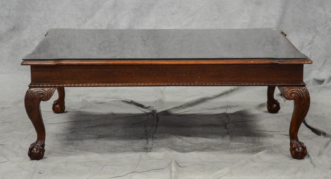 Custom mahogany ball & claw foot coffee table