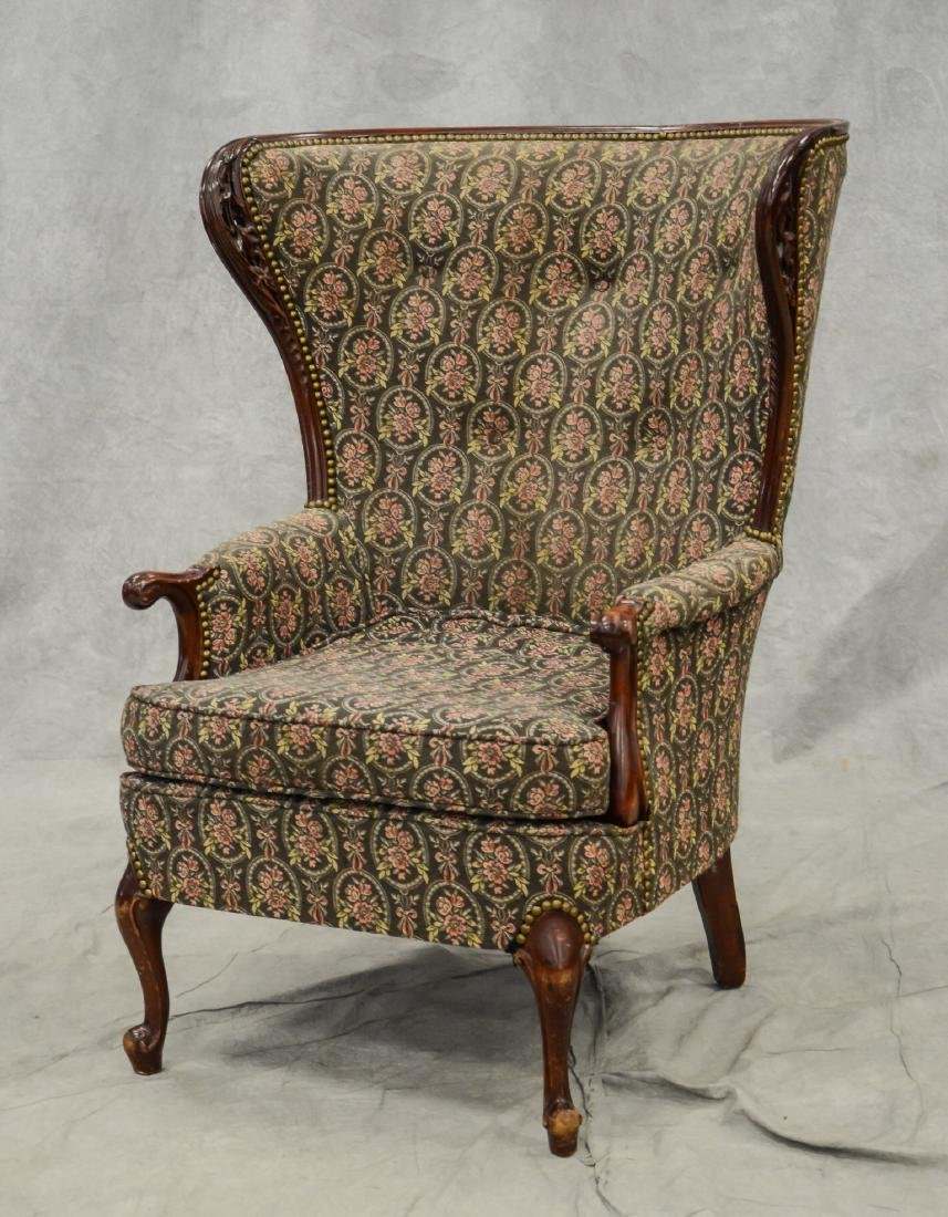 Victorian style carved fireside chair, carved walnut