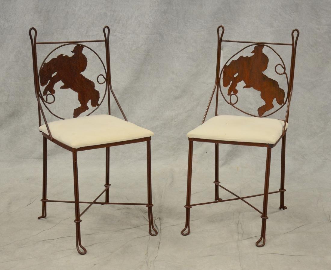 Pair custom metal framed side chairs w/ cowboy ridin