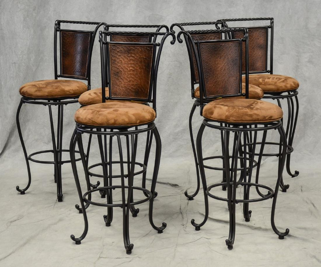 6 Custom ebonized swivel bar stools