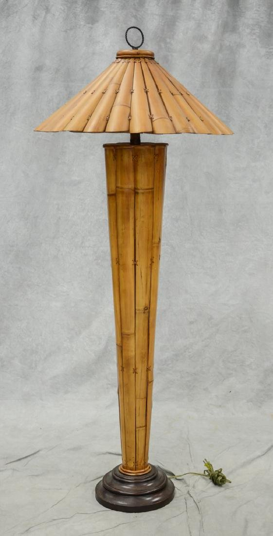Bamboo floor lamp with bamboo shade