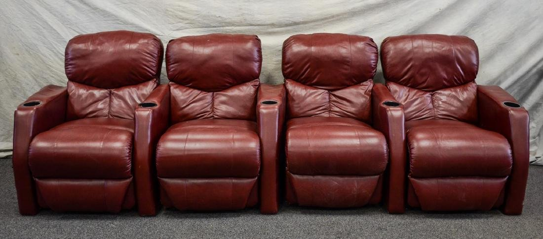 4) Red leather theater recliner chairs