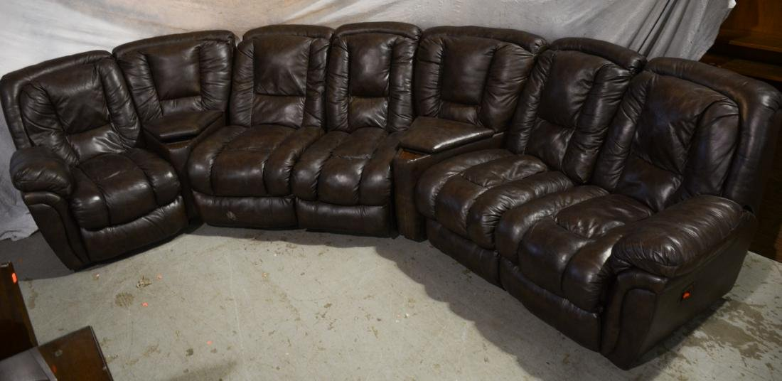 (7) Pc brown leather sectional sofa
