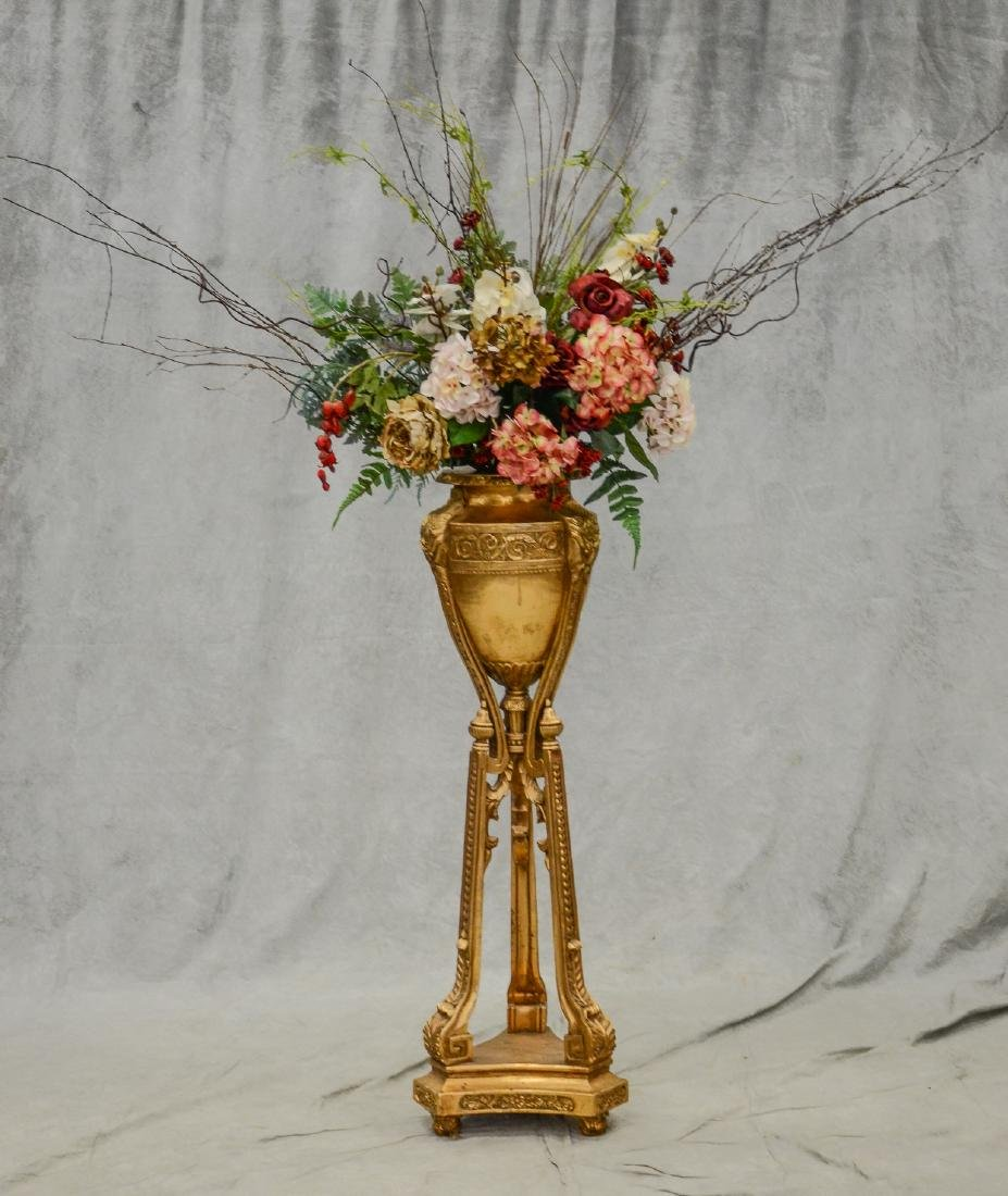 French Style gilt carved urn form planter