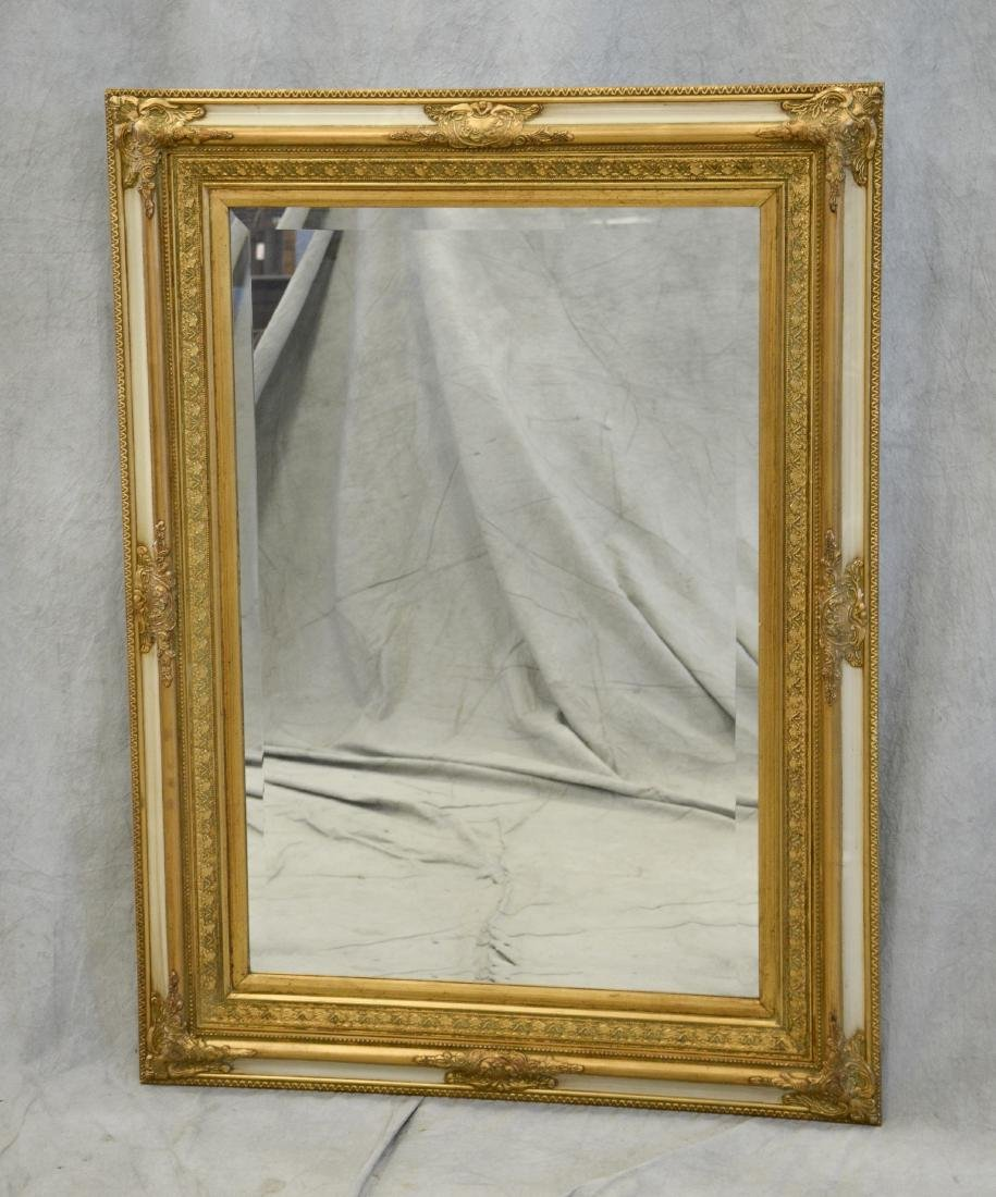 French Style cream & gilt carved hanging wall mirror