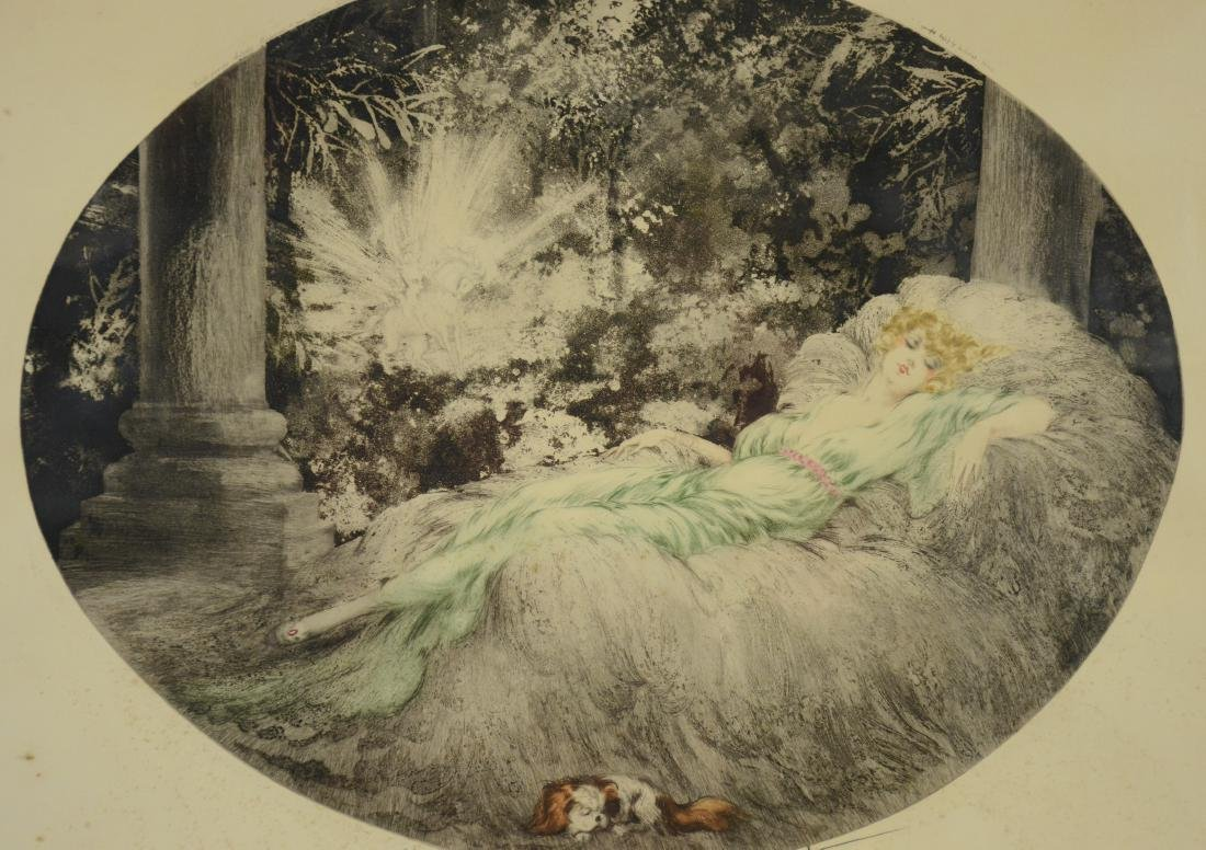 "Louis Icart original etching, ""Sleeping Beauty"""