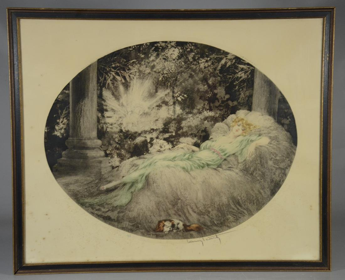 "Louis Icart original etching, ""Sleeping Beauty"" - 2"
