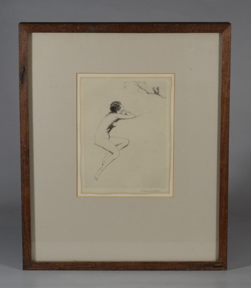 Warren B Davis, etching of a female nude & Squirrel