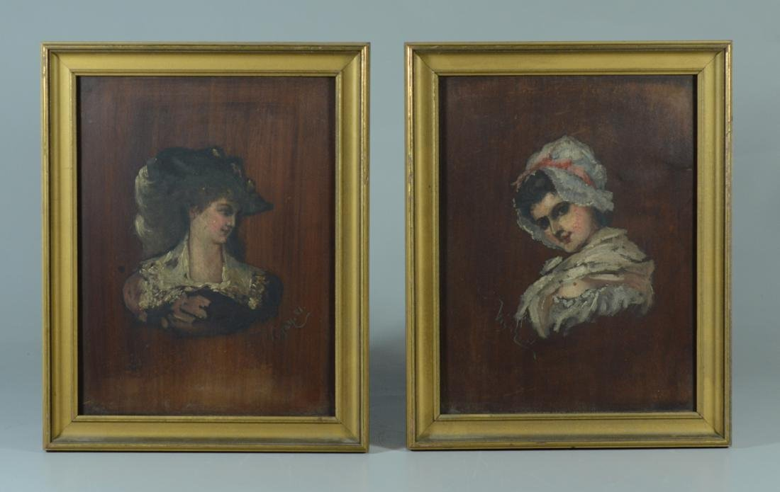 Pr of antique French portrait paintings, signed Vigny