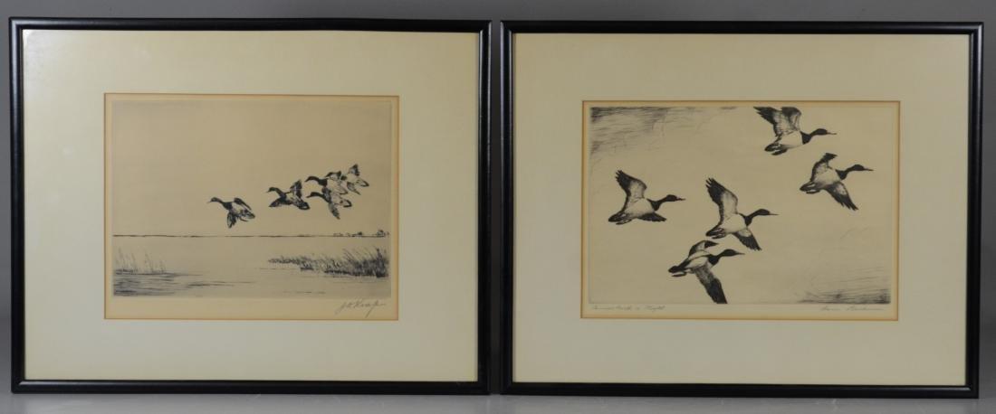 Hans Kleiber & J D Knap, pair of duck etchings