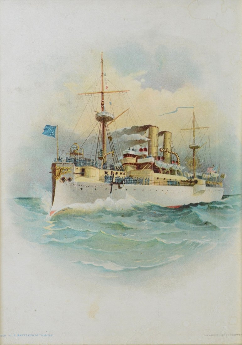 Color lithograph U.S. Battleship 'Maine', 1898