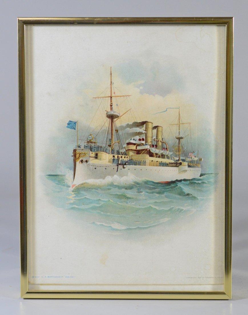 Color lithograph U.S. Battleship 'Maine', 1898 - 2