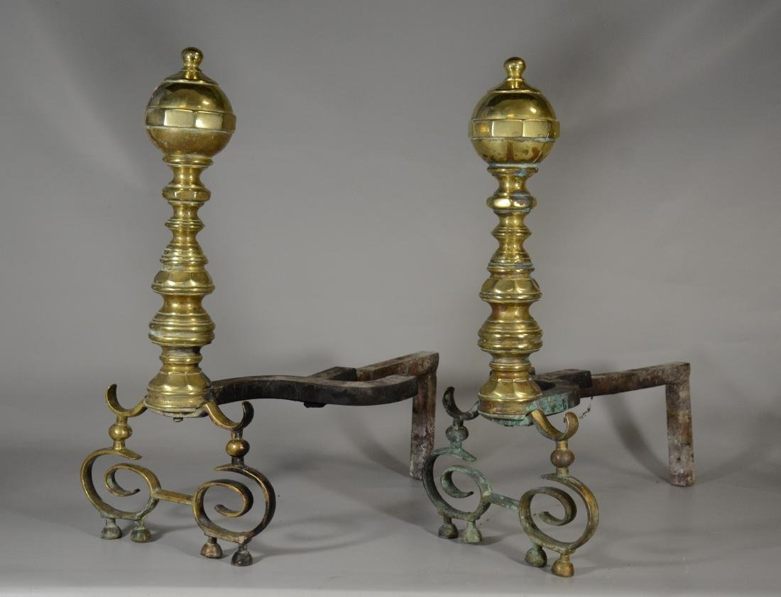 Pair of antique brass fireplace andirons