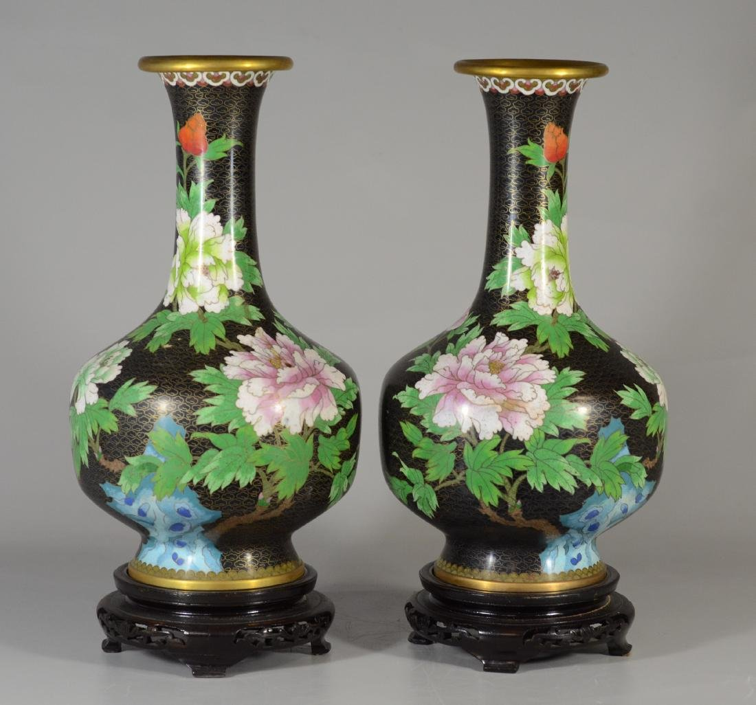 Pair of 20th C Chinese cloisonne vases,