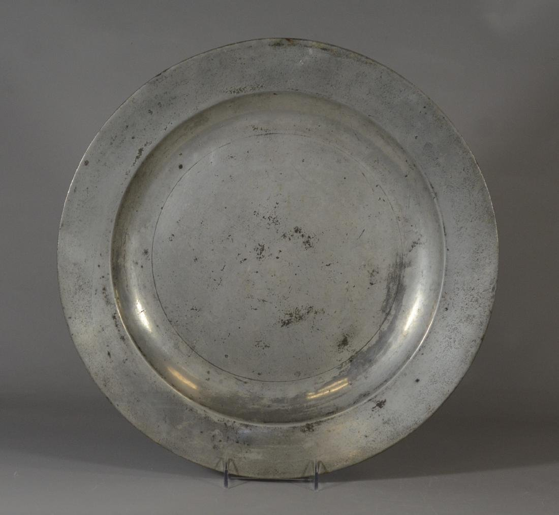 """Richard Yates 18"""" pewter charger, late 18th C"""