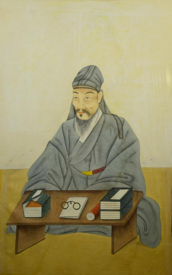 Large antique Chinese scroll painting of scholar