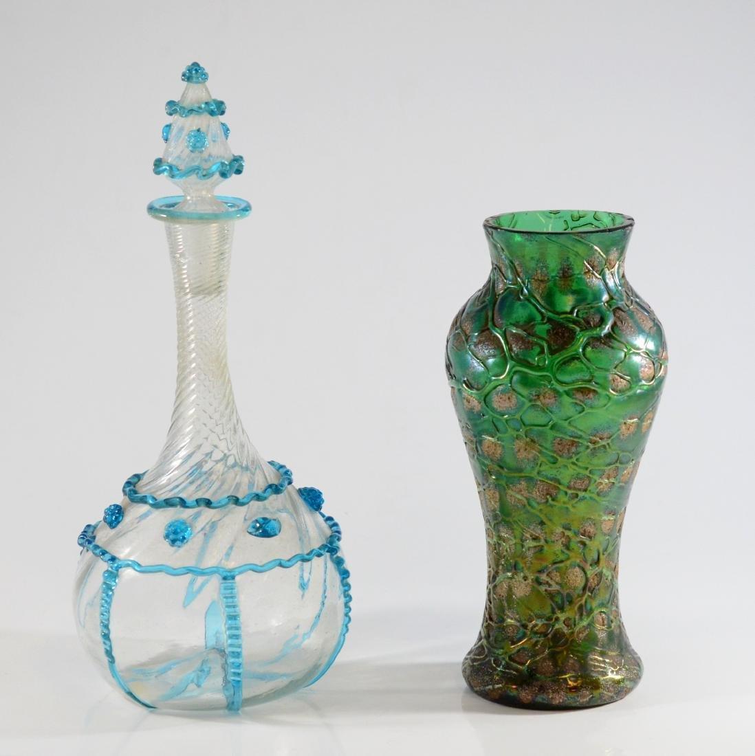 Austrian green art glass vase & Venetian bottle