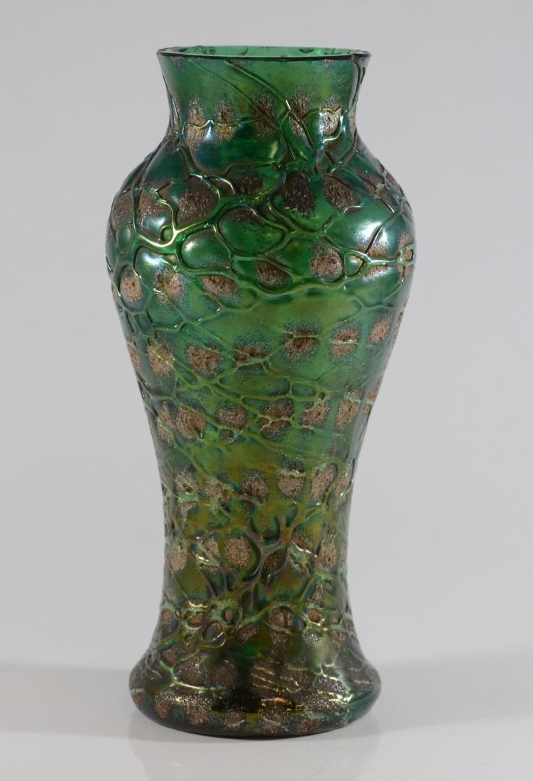 Austrian green art glass vase & Venetian bottle - 3