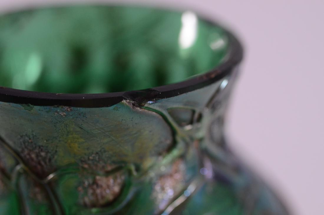Austrian green art glass vase & Venetian bottle - 4