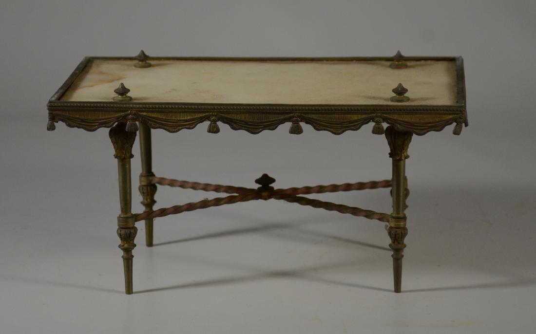 LXV style gilt bronze miniature table, alabaster top