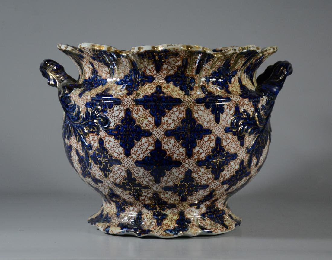 English blue and gilt decorated jardiniere