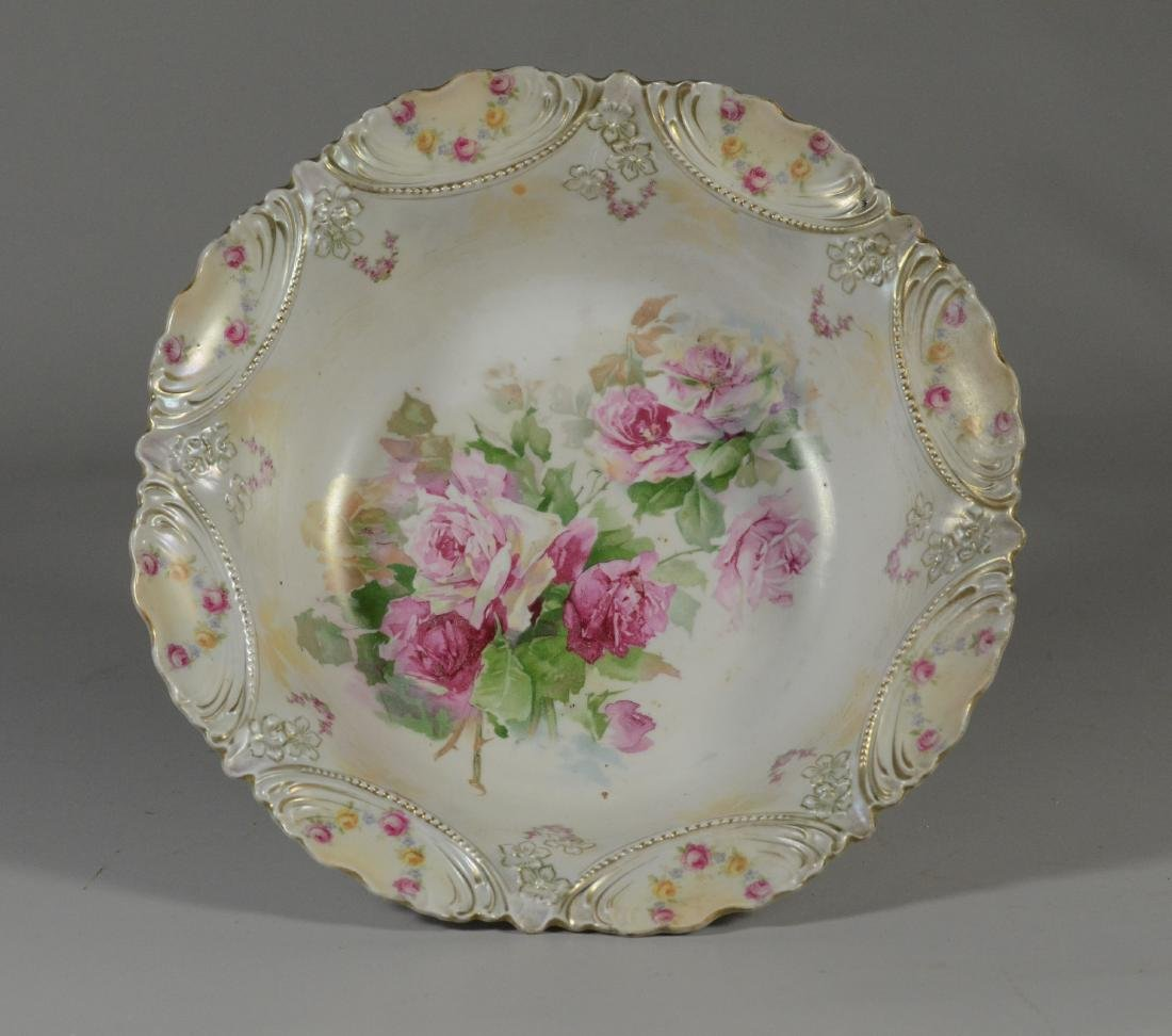"RS Prussia round bowl with rose decoration, 12"" dia"