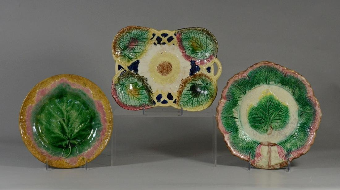 3 majolica leaf plates, 1 marked Etruscan