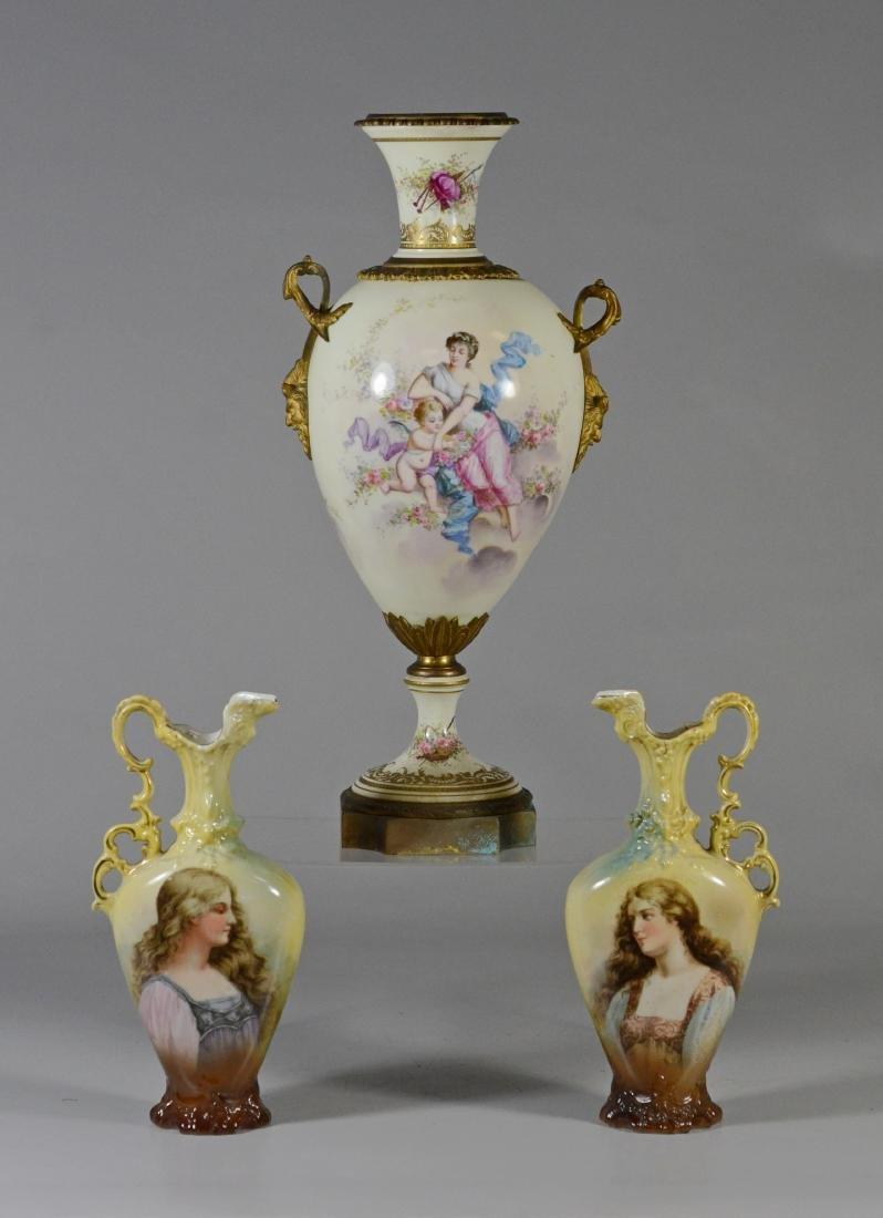 (3) pc porcelain, French urn with cherub decoration