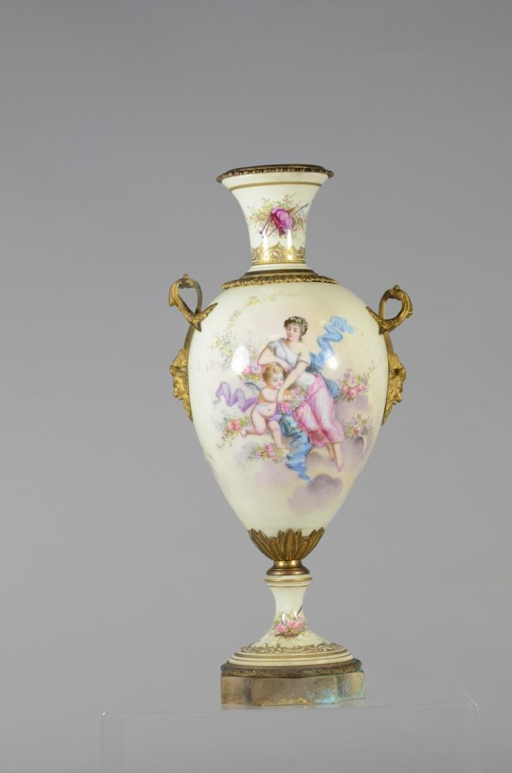 (3) pc porcelain, French urn with cherub decoration - 2