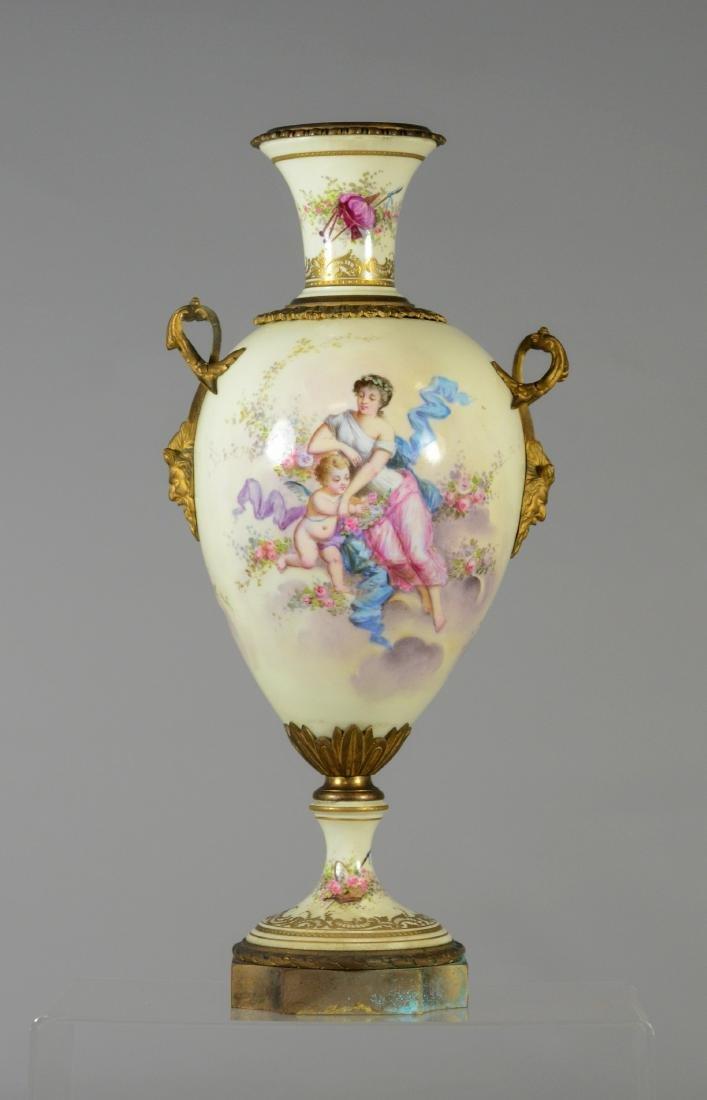 (3) pc porcelain, French urn with cherub decoration - 3