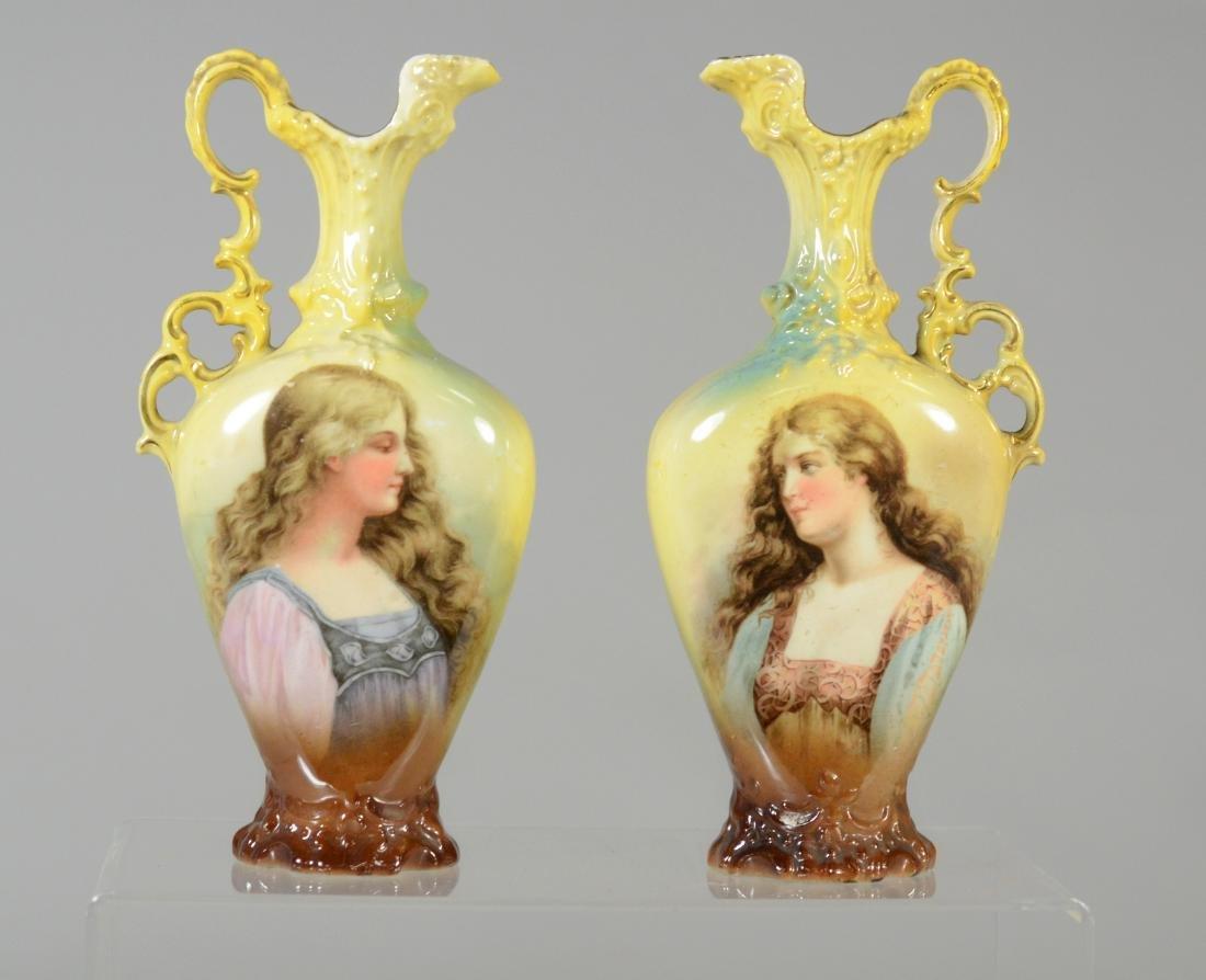(3) pc porcelain, French urn with cherub decoration - 6