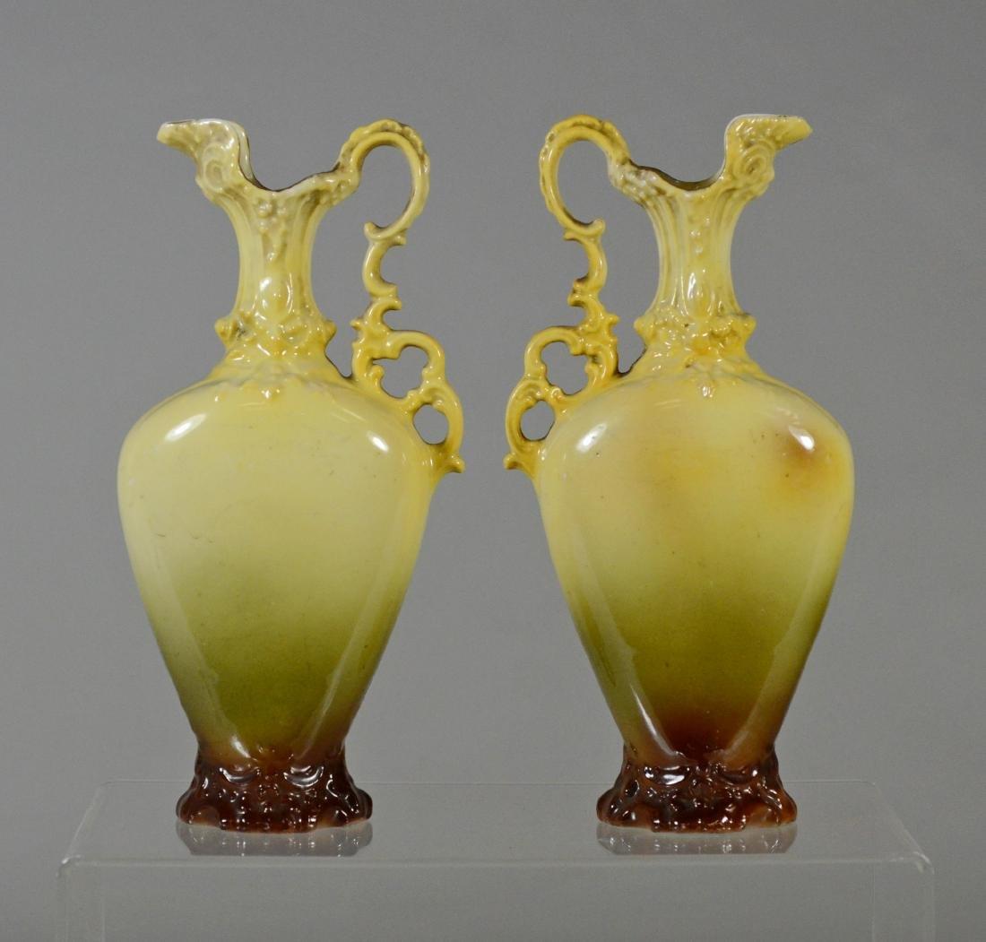 (3) pc porcelain, French urn with cherub decoration - 7
