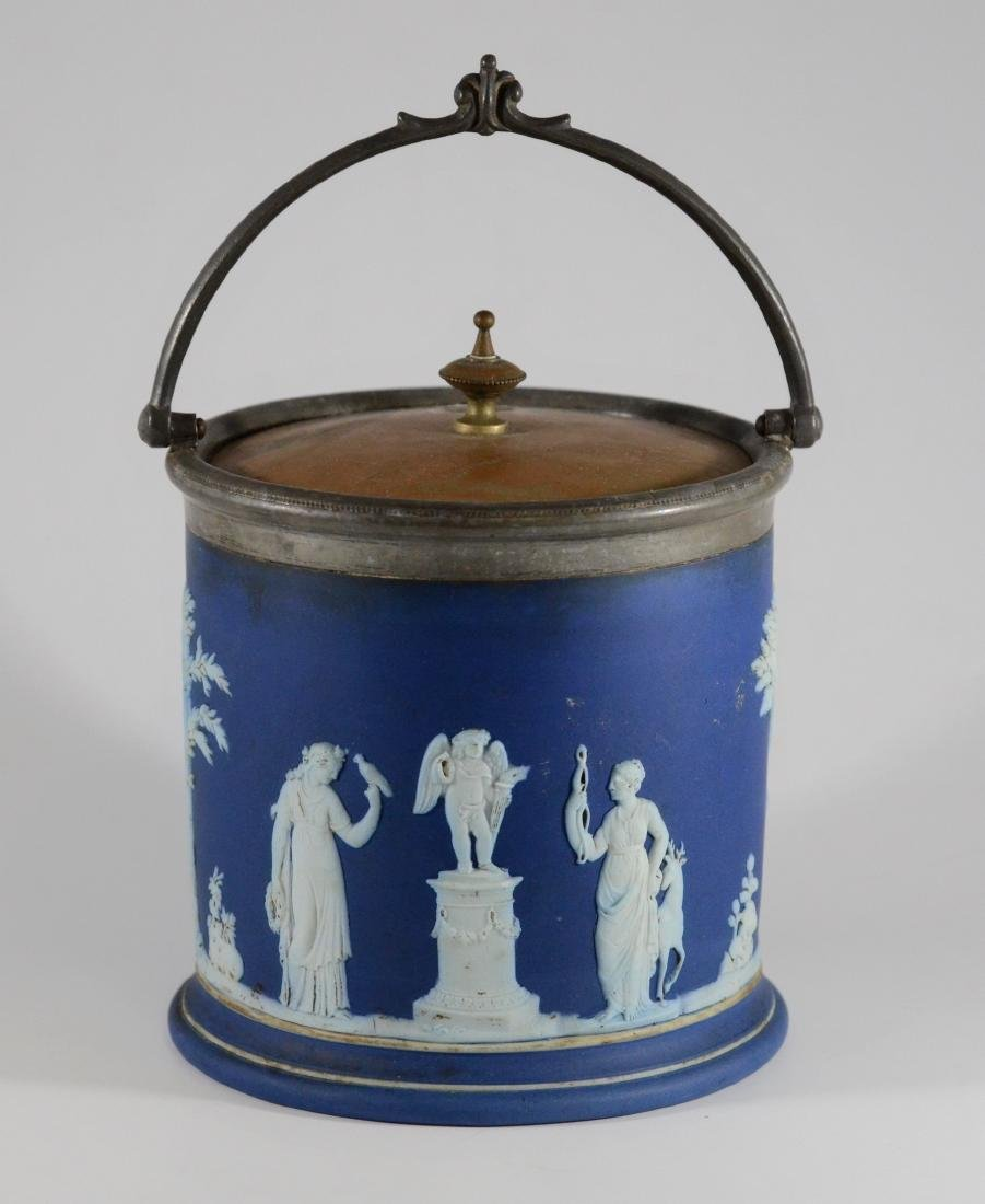 Wedgwood blue jasper cracker jar with silverplated