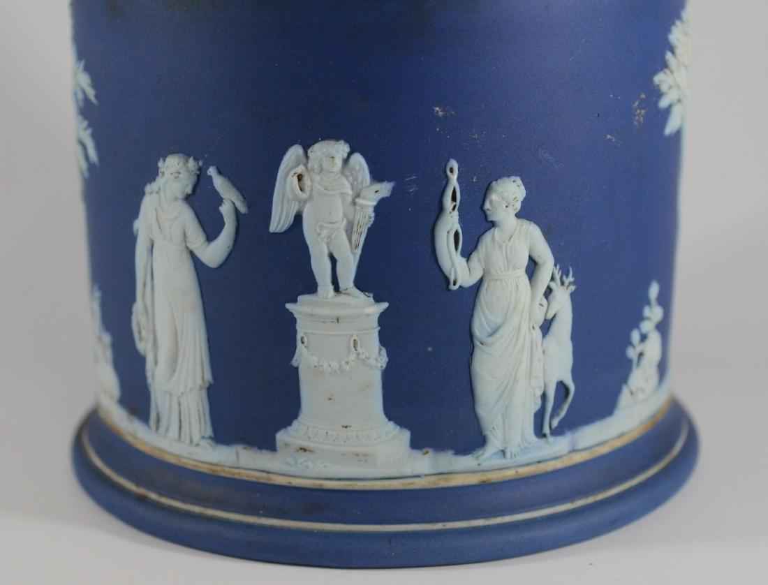 Wedgwood blue jasper cracker jar with silverplated - 2
