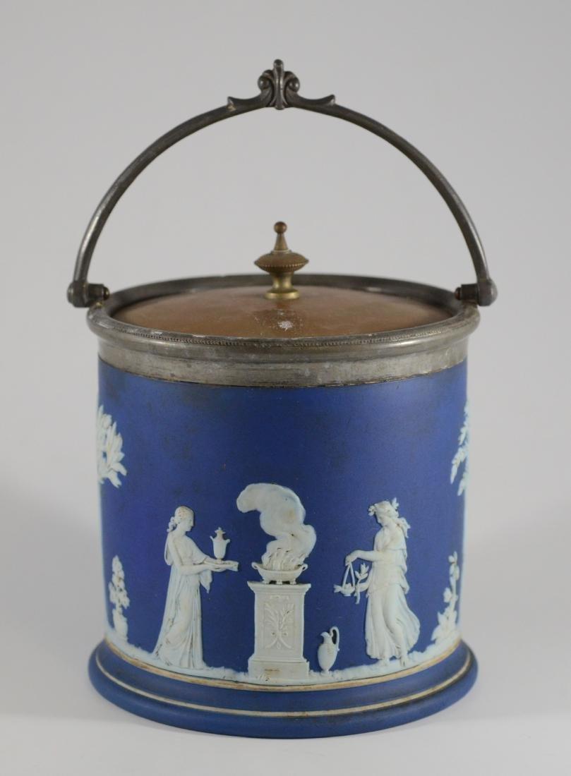 Wedgwood blue jasper cracker jar with silverplated - 3