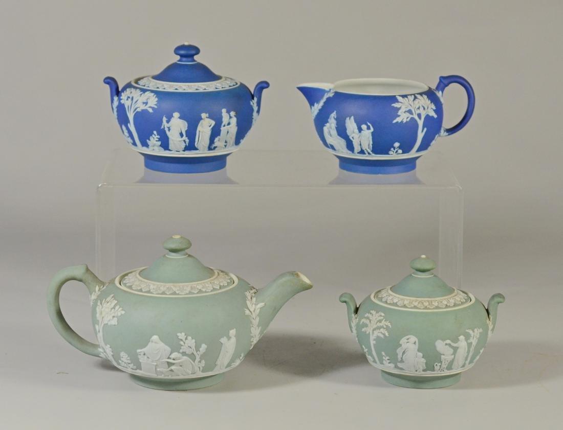 (4) pcs Wedgwood green jasper teapot and covered sug