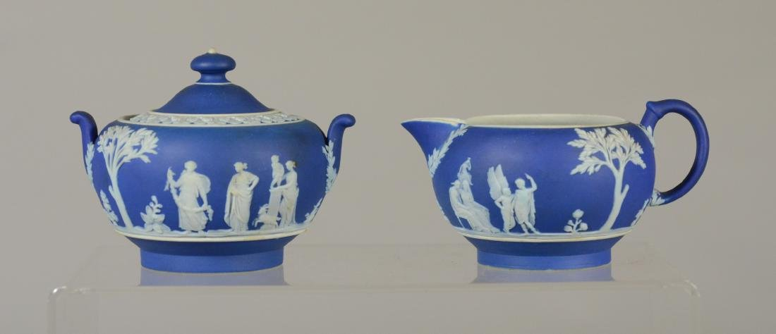 (4) pcs Wedgwood green jasper teapot and covered sug - 2