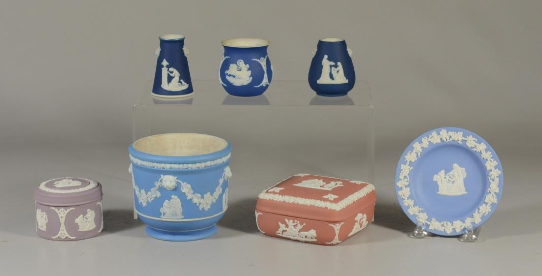 "(7) piece Wedgwood, lavendar covered jar, 2 3/4"" h,"