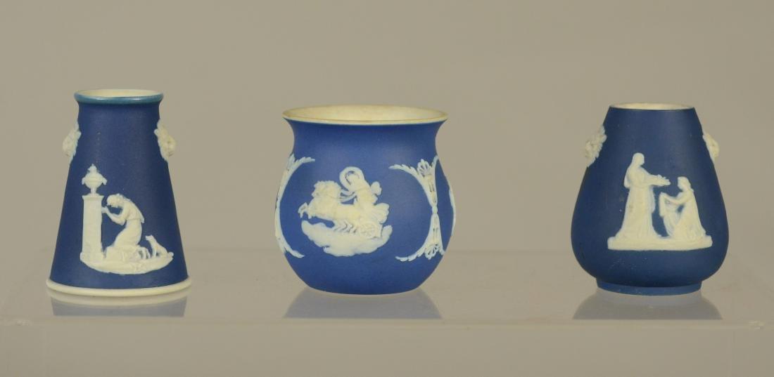"(7) piece Wedgwood, lavendar covered jar, 2 3/4"" h, - 4"