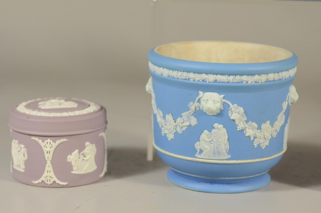 "(7) piece Wedgwood, lavendar covered jar, 2 3/4"" h, - 5"