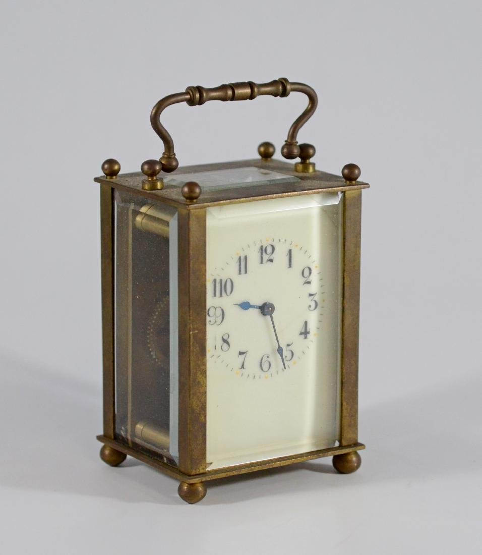French carriage clock with enamel dial, hairline cra